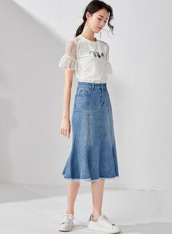 Stylish Denim Cotton Mermaid Sheath Skirt