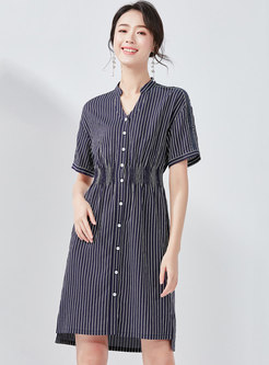 Fashion Stand Collar Striped T-shirt Dress
