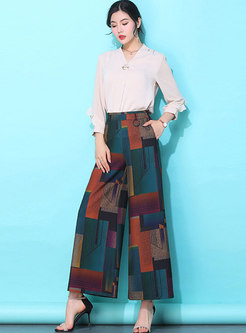 Casual Print High Waist Wide Leg Pants