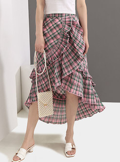 Asymmetric High Waist Falbala Plaid Mermaid Skirt