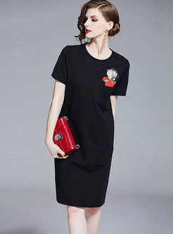 Brief Cartoon Pattern Sheath T-shirt Dress