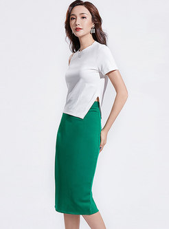 White Irregular Off Shoulder T-shirt & Sheath Skirt