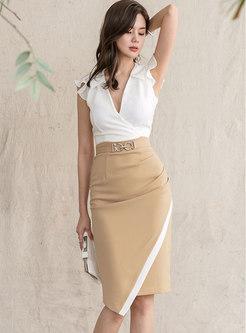 Sexy V-neck Split High Waist Bodycon Dress