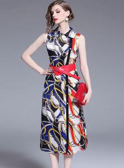 Trendy Print Lapel Sleeveless A Line Dress