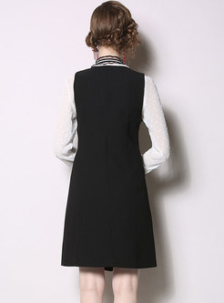 Color-blocked Tie-collar Blouse & Slim Suspender Dress