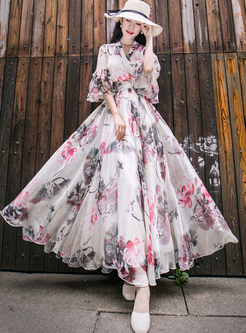 V-neck Flare Sleeve Print Maxi Dress