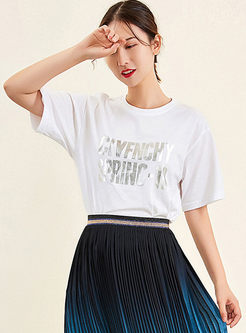White Casual O-neck Letter Print T-shirt