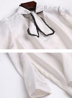 Stylish V-neck Tied Long Sleeve Blouse