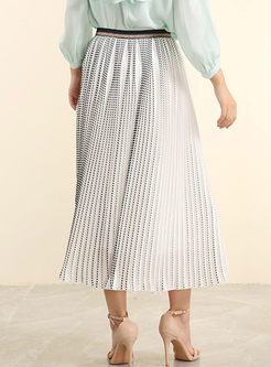 Chic High Waist Polka Dot Big Hem Skirt