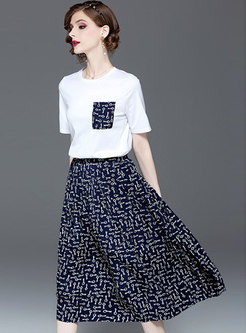 Casual O-neck T-shirt & Print A Line Skirt