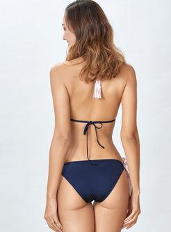 Sexy Halter Color-blocked Striped Bikini