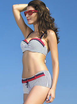 Fashion Color-blocked Striped Gathered Bikini
