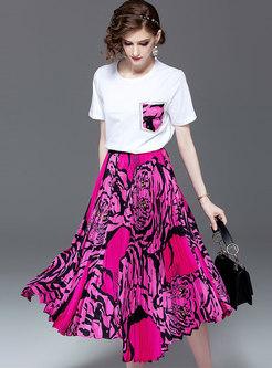 Casual O-neck Pocket T-shirt & Print Skirt