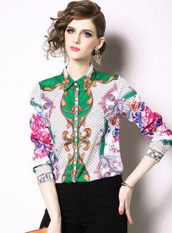 Casual Turn Down Collar Plaid Print Blouse