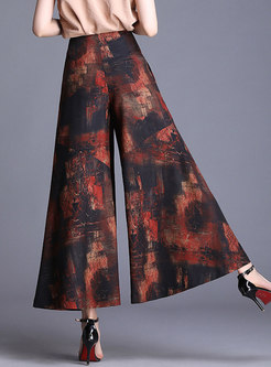 Color-blocked Print Elastic Waist Wide Leg Pants