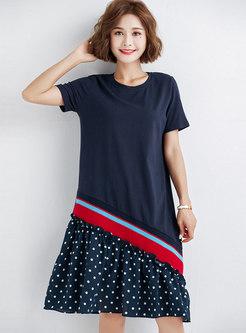 Polka Dot Splicing O-neck Loose T-shirt Dress