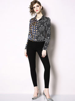 Retro Lapel Long Sleeve Print Blouse
