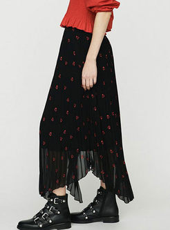 High Waist Heart Embroidered Pleated Skirt