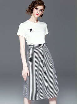Cartoon Pattern O-neck T-shirt & Striped Skirt