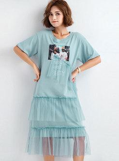 Mesh Splicing O-neck Print T-shirt Dress