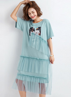 Mesh Splicing O-neck Print T-shirt Dress