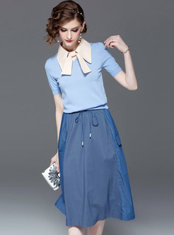 Color-blocked Lapel Knitted Top & Tie-waist Skirt