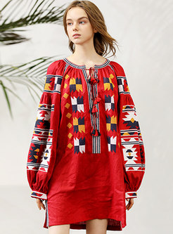 Ethnic O-neck Print Casual Linen Shift Dress