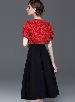 Polka Dot V-neck Top & High Waist A Line Skirt