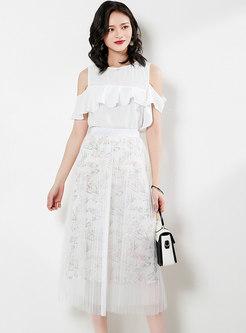Chic Mesh Splicing High Waist Pleated Skirt