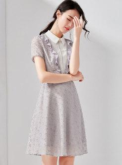 Color-blocked Lapel High Waist A Line Dress