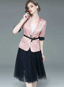 Chic Pink Striped Slim Coat & Mesh A Line Skirt