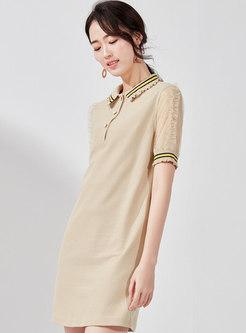 Casual Splicing Polo Collar T-shirt Dress