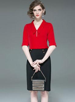 Stylish Lapel Beaded Blouse & Slim Bodycon Skirt
