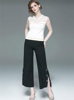 O-neck Sleeveless Top With Kimono & Wide Leg Pants