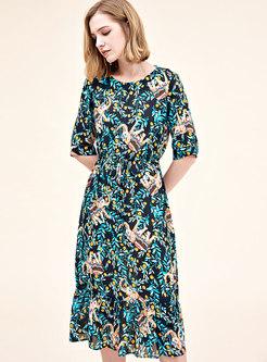 Print O-neck Half Sleeve Tie-waist A Line Dress