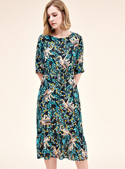Print O-neck Half Sleeve Tie-waist A Line Dress