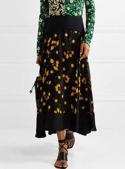 Stylish High Waist Floral All-matched Silk Skirt