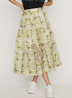 Chic Yellow Mesh Embroidered A Line Skirt