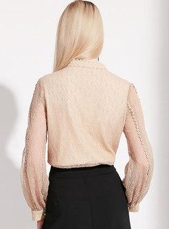 Trendy Lace Pure Color Hollow Out Blouse