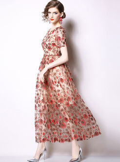 Stylish O-neck Short Sleeve Print Maxi Dress