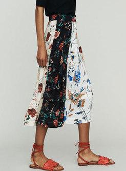 Multi Hit Color Retro Splicing Skirt