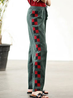 Casual High Waist Embroidered Straight Pants