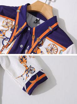 Retro Lapel Half Sleeve Print Skater Dress
