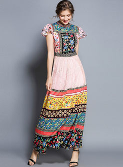 Meck Neck Ruffled Sleeve Color-blocked Maxi Dress