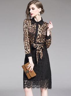 Lapel Leopard Patchwork Lace Bodycon Dress