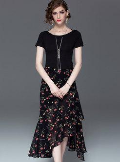 Casual O-neck T-shirt & Floral Asymmetric Skirt