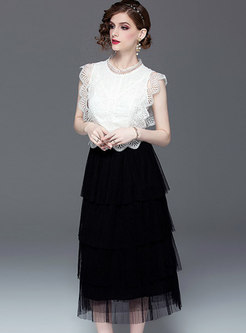 Stand Collar Sleeveless Top & Mesh Cake Skirt