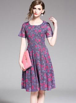 O-neck Short Sleeve Waist Print Skater Dress