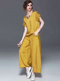 Solid Color O-neck Top & Wide Leg Pants