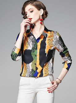 Casual Lapel Print Long Sleeve Blouse